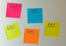 Para hacer la lista por el Año Nuevo en diversos colores Foto de archivo libre de regalías