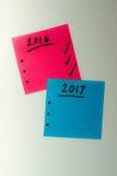 Para hacer la lista por el Año Nuevo en rosa y azul Foto de archivo libre de regalías