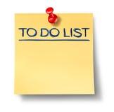 Para hacer la nota en blanco de la oficina de la lista aislada Fotografía de archivo