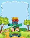 Para iść na wycieczce samochodowej ilustracja wektor