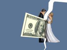 Para ilustrar como as edições do dinheiro podem vir entre pares e divórcio da causa, cem notas de dólar vêm entre uma noiva e ilustração stock