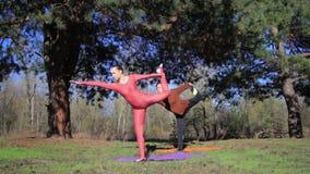 Para kobiety ćwiczy joga sprawność fizyczną bawi się w lasu parku zdjęcie wideo
