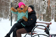 Para kochanek zimy czas Obrazy Stock