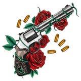 Para krzyżujący pistolety i wzrastał kwiaty rysujących w tatuażu stylu również zwrócić corel ilustracji wektora ilustracji