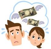 Para która martwi się o pieniądze ilustracji