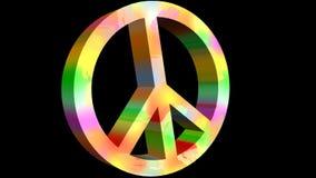 Para la animación de la paz con el symbole anti de la guerra en colores del arco iris 3d pacifistas firman adentro el estilo de l libre illustration