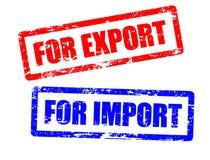 Para la importación y para los sellos de la exportación Foto de archivo libre de regalías