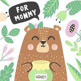 Para la impresión de la mamá con el oso lindo estupendo del bebé libre illustration
