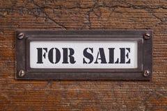 Para la venta - etiqueta del gabinete de fichero Imágenes de archivo libres de regalías