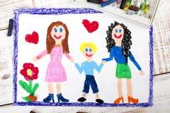 Para lesbians i dziecko adoptowane ilustracji