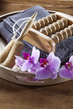 Para limpiar y exfoliate con el balneario de la suavidad en casa Imagen de archivo