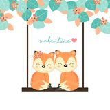 Para lisy na huśtawce w lesie royalty ilustracja