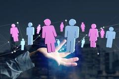 Para mężczyzna i kobiety spotkanie na internecie - 3D renderi obraz stock