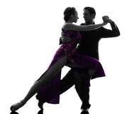 Para mężczyzna kobiety sala balowej tancerze tangoing sylwetkę Fotografia Royalty Free