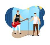 Para Męscy artyści Daje muzyka rockowa koncertowi royalty ilustracja