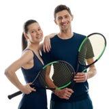 Para młodzi gracz w tenisa obraz royalty free