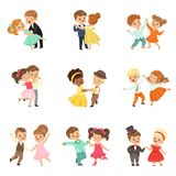 Para małe dzieci tanczy setu, nowożytnego i klasycznego tana wykonującego dziecko wektorowymi ilustracjami na bielu, ilustracja wektor