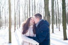 Para ma zabawę w śnieżnym parku obraz stock