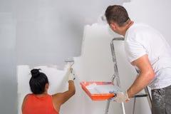 Para maluje pokój zdjęcie stock