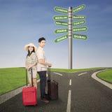 Para miesiąca miodowego podróż z luggages zdjęcia royalty free