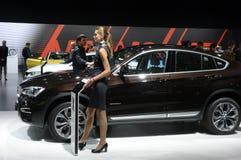 Para mujer del equipo de BMW cerca del coche Brown SUV Fotos de archivo libres de regalías