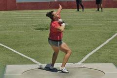 Para mujer lanzamiento de peso en el Mt 2016 Retransmisiones del saco Foto de archivo libre de regalías