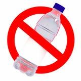 Para não jogar o sinal das garrafas do plástico Imagem de Stock