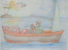 Para na łodzi Obraz Royalty Free