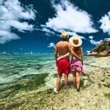 Para na plaży przy Seychelles Fotografia Stock