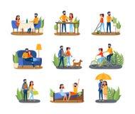 Para na różnym aktywność secie Mężczyzna i kobieta ilustracji