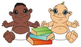 Para niemowlę chłopiec z książkami ilustracji