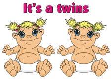 Para niemowlę dziewczyn bliźniacy ilustracja wektor