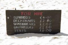 Para o aluguer na praia Imagem de Stock