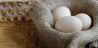 Para o encabeçamento do local A imagem de três ovos frescos encontra-se em um guardanapo bege imagem de stock