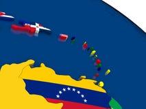 Para o sul as Caraíbas no mapa 3D com bandeiras Fotografia de Stock Royalty Free