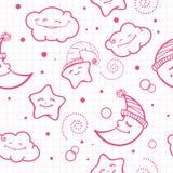 Para o teste padrão do bebê Teste padrão da noite Lua e estrelas ilustração royalty free