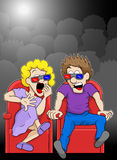 Para ogląda horroru 3d filmu film w kinie Obrazy Royalty Free