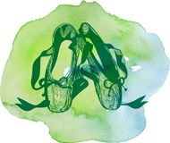 Para oklepani balle buty royalty ilustracja