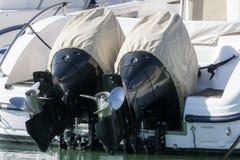 Para outboard silniki z pokrywą Zdjęcie Stock