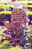 Para patrzeje po kwiatów w ogródzie Zdjęcia Stock
