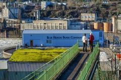 Para pauzuje przeglądać ruiny papierowy młyn i elektrownia Zdjęcia Stock