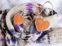 Para pomarańcze czuł serca na woolen szaliku z ornamentem na śniegu zdjęcie stock