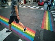 Para preparar el orgullo gay en los pasos de peatones peatonales de París eran pai Fotos de archivo libres de regalías