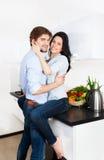 Para przy kuchnią obrazy royalty free