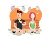 Para przy suszi barem Młody człowiek i dziewczyna na dacie ilustracja wektor