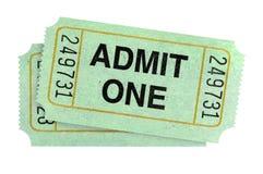 Para przyznaje jeden bilety odizolowywających na białym tle zdjęcie stock