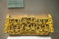 Para Qing dynastii woodcarving rękodzieło w Guangdong muzeum Zdjęcie Stock