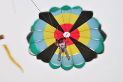 Para sail by car. Buhamad Kites Team fly with parasail Kuwait beach in winter 2009 Royalty Free Stock Images