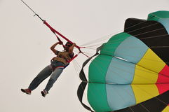 Para sail by car. Buhamad Kites Team fly with parasail Kuwait beach in winter 2009 Royalty Free Stock Photo