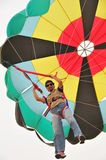 Para sail by car. Buhamad Kites Team fly with parasail Kuwait beach in winter 2009 Royalty Free Stock Photos